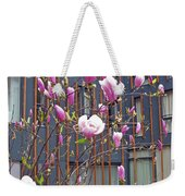 Pink Magnolia. Square Format Weekender Tote Bag