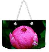 Pink Peony Bud Weekender Tote Bag