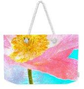 Pink Poppy On Blue Weekender Tote Bag