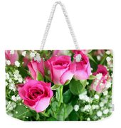 Pink Roses And Gypsophila Bouquet Weekender Tote Bag