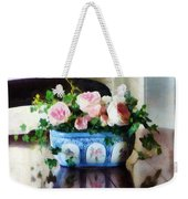Pink Roses And Ivy Weekender Tote Bag by Susan Savad