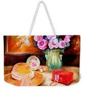 Pink Roses In A Green Vase With A String Of Pearls And A Pretty Summer Straw Hat  Weekender Tote Bag
