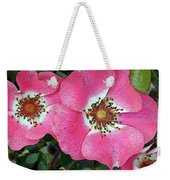 Pink Single Roses Weekender Tote Bag