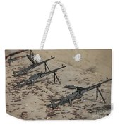 Pk Machine Guns And Spent Cartridges Weekender Tote Bag