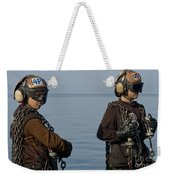 Plane Captains Stand By During Aircraft Weekender Tote Bag