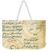 Planetary Diagram, Islamic Astronomy Weekender Tote Bag by Science Source