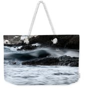 playing with waves 2 - A beautiful image of a wave rolling in noth coast of Menorca Cala Mesquida Weekender Tote Bag