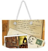 Polaroid Of Open Door To Church With A Bible Verse Weekender Tote Bag