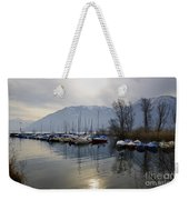 Port With Snow-capped Mountain Weekender Tote Bag