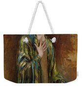 Portrait Of A Girl With A Green Shawl Weekender Tote Bag