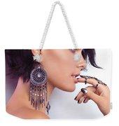 Portrait Of A Woman Wearing Jewellery Weekender Tote Bag