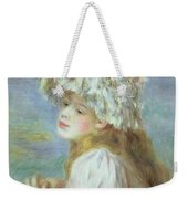 Portrait Of A Young Woman In A Lace Hat Weekender Tote Bag by Pierre Auguste  Renoir
