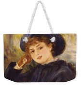 Portrait Of Mademoiselle Demarsy Weekender Tote Bag by Pierre Auguste Renoir