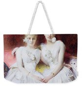 Portrait Of Marthe And Terese Galoppe Weekender Tote Bag by Leon Joseph Bonnat