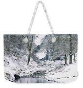 Powerscourt Waterfall In Winter, County Weekender Tote Bag