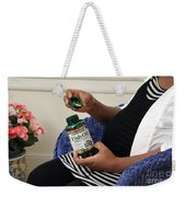 Pregnant Woman Taking Fish Oil Weekender Tote Bag