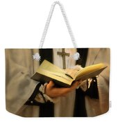 Priest With Open Bible Weekender Tote Bag by Jill Battaglia