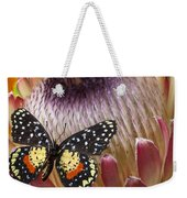 Protea With Speckled Butterfly Weekender Tote Bag