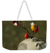 Pumpkin On A Stick In An Old Primitive Moonshine Jug Weekender Tote Bag