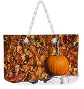 Pumpkin On White Fence Post Weekender Tote Bag