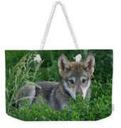 Pup In The Grass Weekender Tote Bag