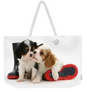 Puppies With Rain Boots Weekender Tote Bag by Jane Burton