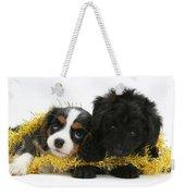 Puppies With Tinsel Weekender Tote Bag