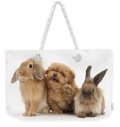 Puppy And Rabbits Weekender Tote Bag