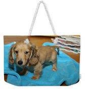 Puppy On Blue Blanket Weekender Tote Bag