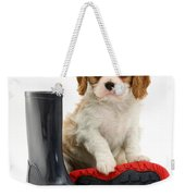 Puppy With Rain Boots Weekender Tote Bag by Jane Burton