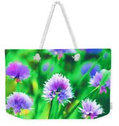 Purple And Green Chive Watercolor Weekender Tote Bag