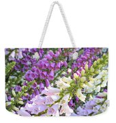 Purple And White Foxglove Square Weekender Tote Bag