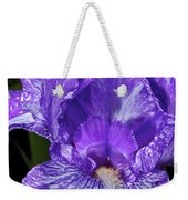 Purple And White Stiped Iris Weekender Tote Bag