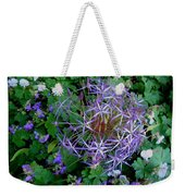 Purple Flower Sphere Weekender Tote Bag