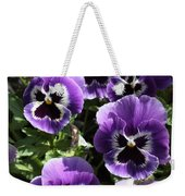 Purple Pansies Square Weekender Tote Bag