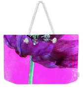 Purple Poppy On Pink Weekender Tote Bag