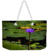 Purple Waterlily Weekender Tote Bag