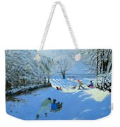 Pushing The Sledge Weekender Tote Bag by Andrew Macara