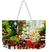 Quebec City Street Scene The Red Caleche Weekender Tote Bag