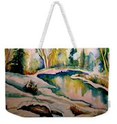 Quebec Winter Landscape Weekender Tote Bag