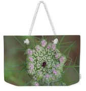 Queen Anne's Lace Flower Partly Open With Dew Weekender Tote Bag