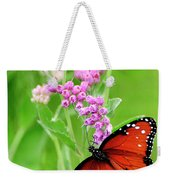 Queen Butterfly And Pink Flowers Weekender Tote Bag