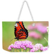 Queen Butterfly Sitting On Pink Flowers Weekender Tote Bag