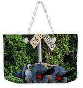 Railroad Crossing Light And Greenery Weekender Tote Bag