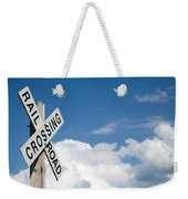 Railroad Crossing Sign Weekender Tote Bag