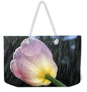 Rain Falling On A Tulip Weekender Tote Bag