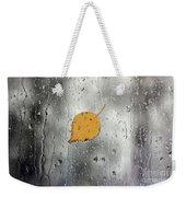 Rain On Window With Leaf Weekender Tote Bag