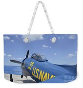 Rear View Of A F8f Bearcat Parked Weekender Tote Bag