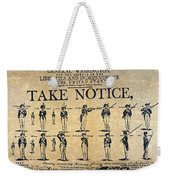 Recruiting Broadside, C1798 Weekender Tote Bag