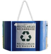 Recycling Bin Weekender Tote Bag by Photo Researchers, Inc.